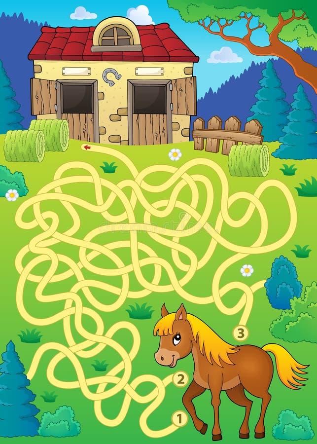 Лабиринт 33 с темой лошади бесплатная иллюстрация