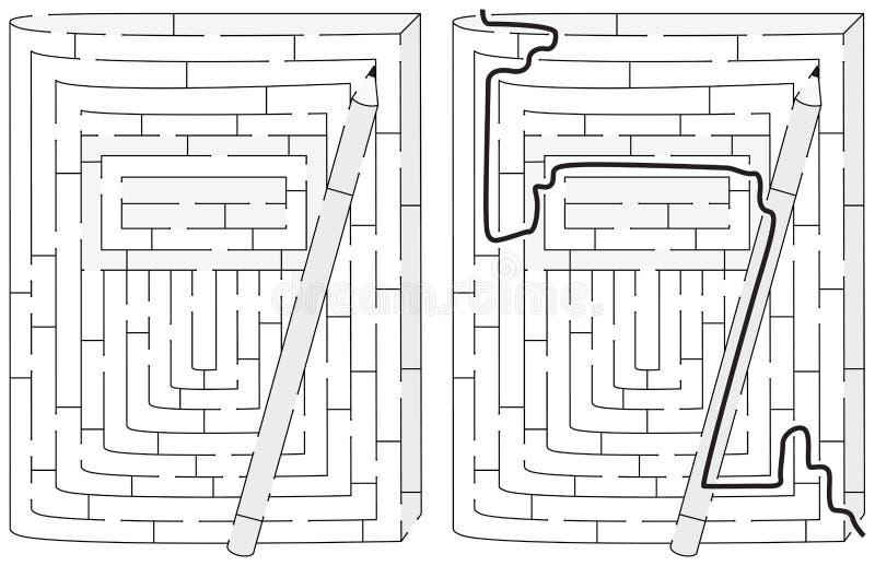 Лабиринт тетради и карандаша бесплатная иллюстрация