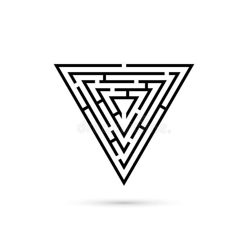Лабиринт треугольника с путем центризовать Игра логики иллюстрация вектора