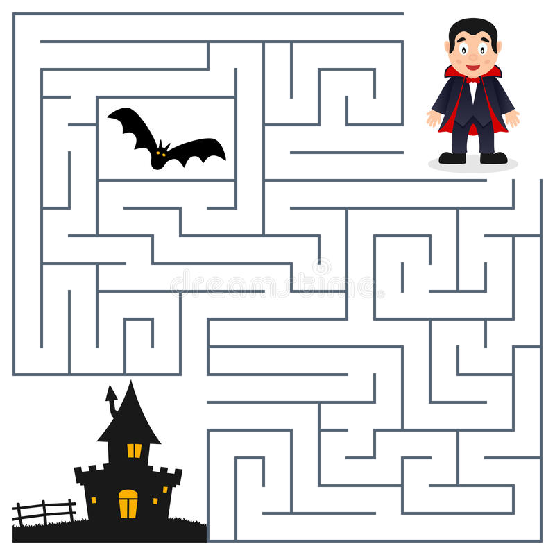 Лабиринт хеллоуина - Дракула & преследовать дом иллюстрация вектора