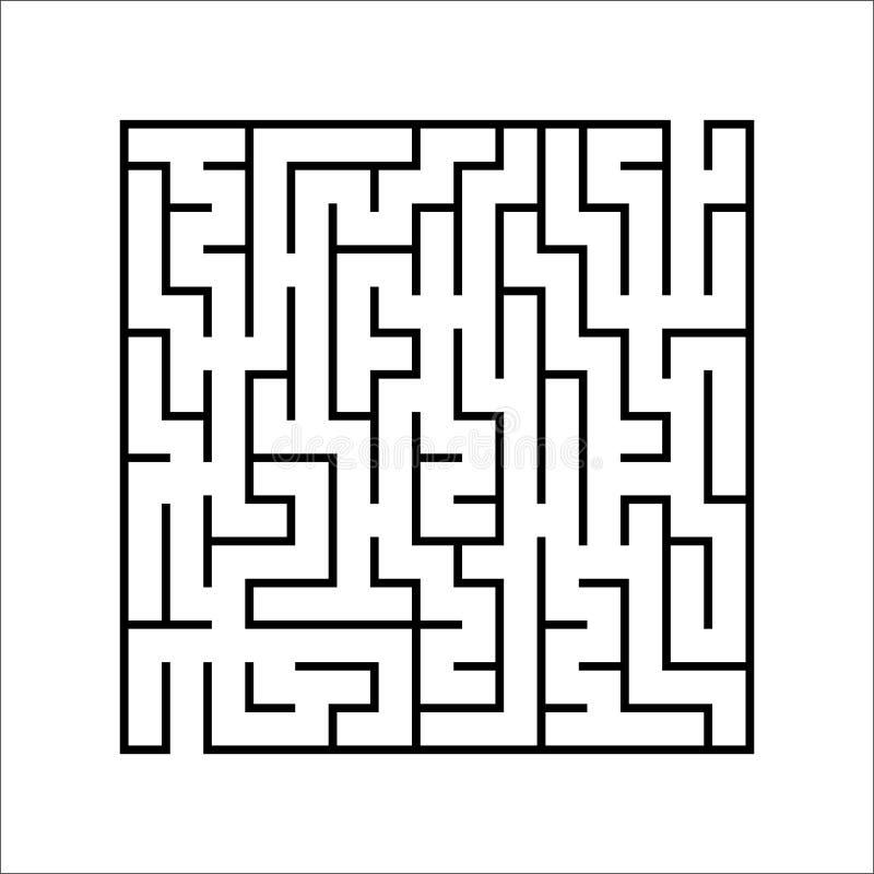 Лабиринт черного квадрата Интересная и полезная игра для детей Головоломка ` s детей с одним входом и одним выходом Головоломка л иллюстрация штока
