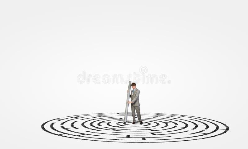 Лабиринт чертежа бизнесмена иллюстрация вектора