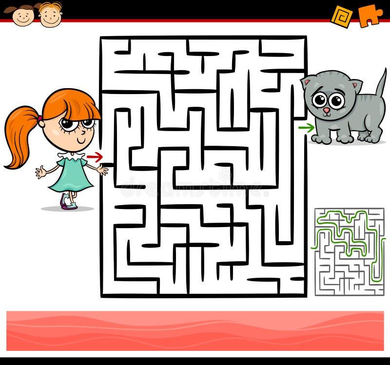 Лабиринт шаржа или игра лабиринта иллюстрация штока