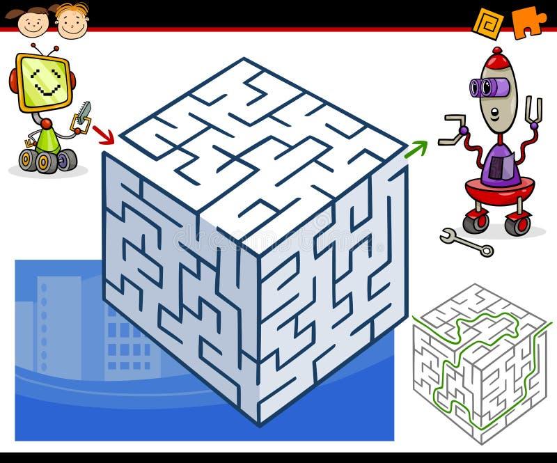 Лабиринт шаржа или игра лабиринта иллюстрация вектора