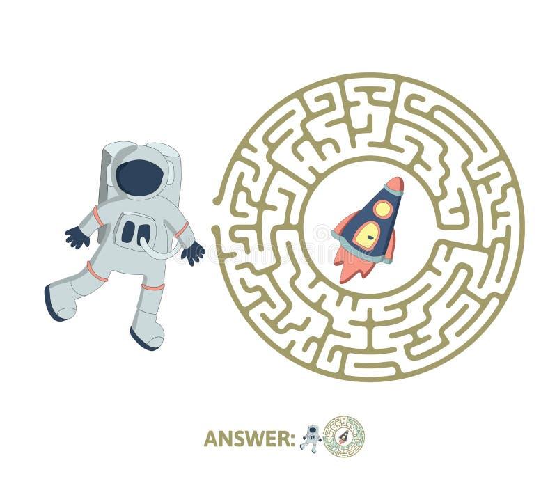 Лабиринт ` s детей с астронавтом и ракетой Озадачьте игру для детей, иллюстрацию лабиринта вектора бесплатная иллюстрация