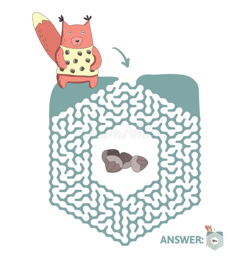 Лабиринт ` s детей с белкой и гайками Озадачьте игру для детей, иллюстрацию лабиринта вектора иллюстрация штока