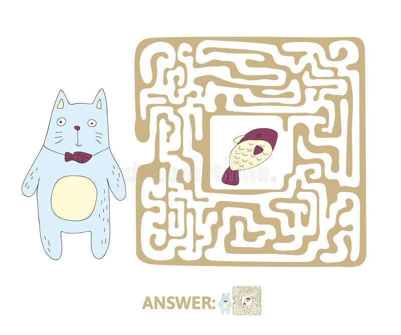 Лабиринт ` s детей с котом и рыбами Озадачьте игру для детей, иллюстрацию лабиринта вектора иллюстрация штока