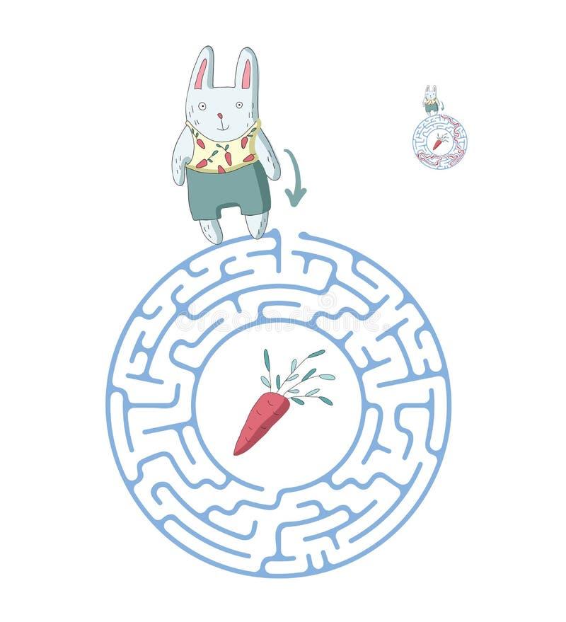 Лабиринт ` s детей с кроликом и морковью Озадачьте игру для детей, иллюстрацию лабиринта вектора бесплатная иллюстрация