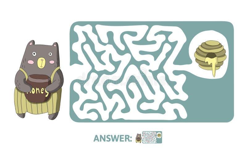 Лабиринт ` s детей с медведем и медом Игра головоломки для детей, бесплатная иллюстрация