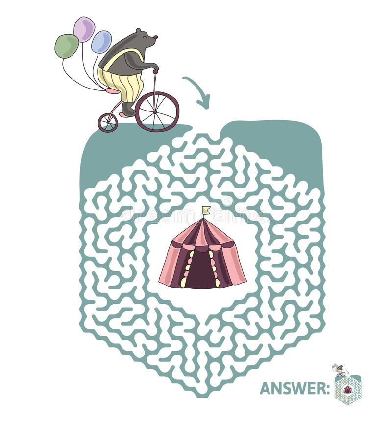 Лабиринт ` s детей с медведем на велосипеде и шатре цирка Озадачьте игру для детей, иллюстрацию лабиринта вектора иллюстрация штока