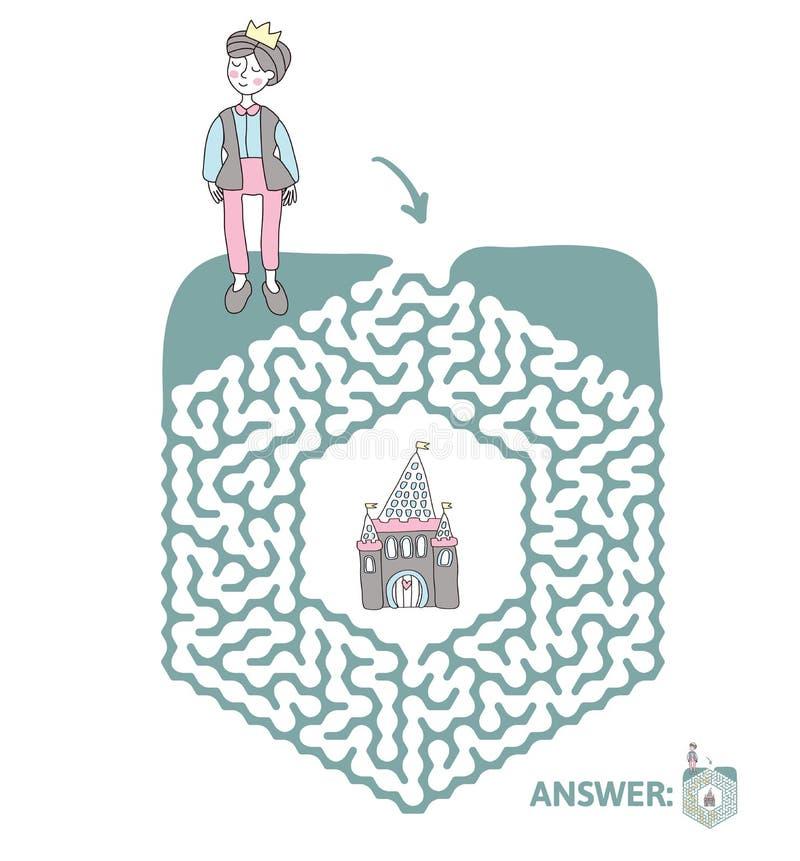 Лабиринт ` s детей с принцем и сказка рокируют Озадачьте игру для детей, иллюстрацию лабиринта вектора иллюстрация штока