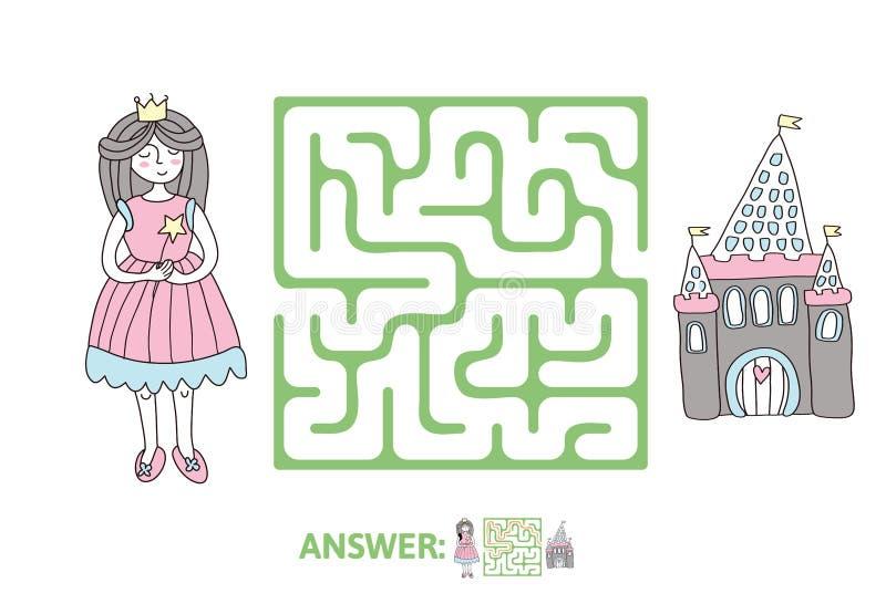 Лабиринт ` s детей с принцессой и сказка рокируют Озадачьте игру для детей, иллюстрацию лабиринта вектора иллюстрация штока