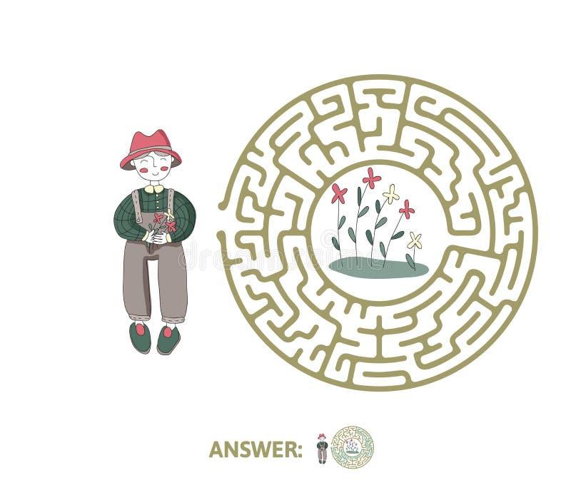 Лабиринт ` s детей с садовником и цветками Озадачьте игру для детей, иллюстрацию лабиринта вектора иллюстрация штока