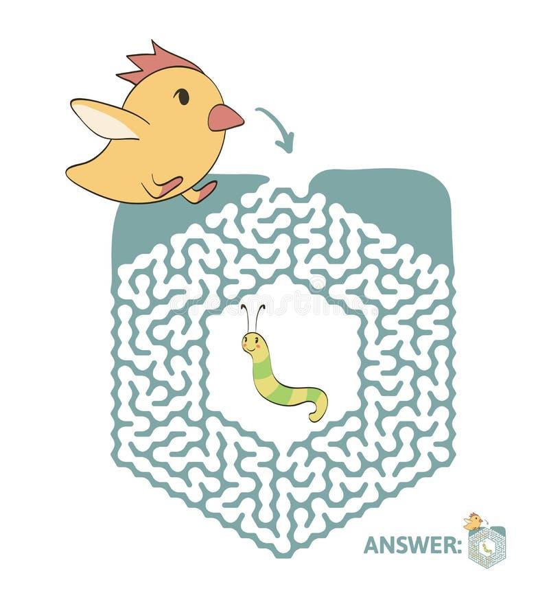 Лабиринт ` s детей с цыпленком и червем Озадачьте игру для детей, иллюстрацию лабиринта вектора иллюстрация штока