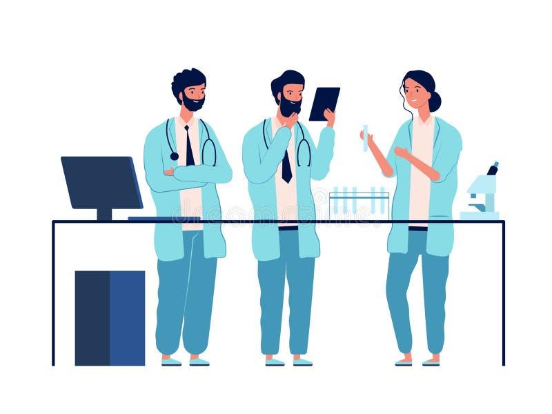 Лаборатория врачей Персонажи-ученые, стоящие у лабораторного стола, делают анализ вектором медицинского или химического образован иллюстрация штока