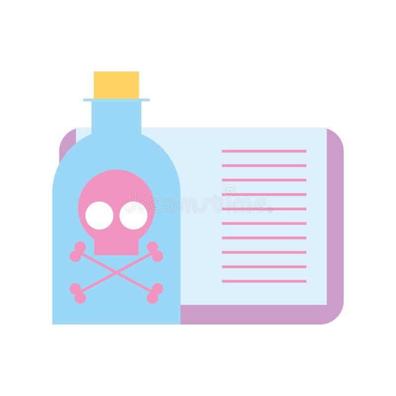 Лаборатория книги опасности бутылки отравы бесплатная иллюстрация