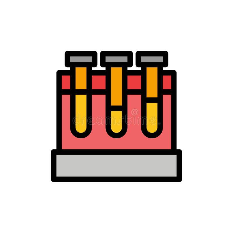 Лаборатория, ушаты, тест, значок цвета образования плоский Шаблон знамени значка вектора иллюстрация вектора