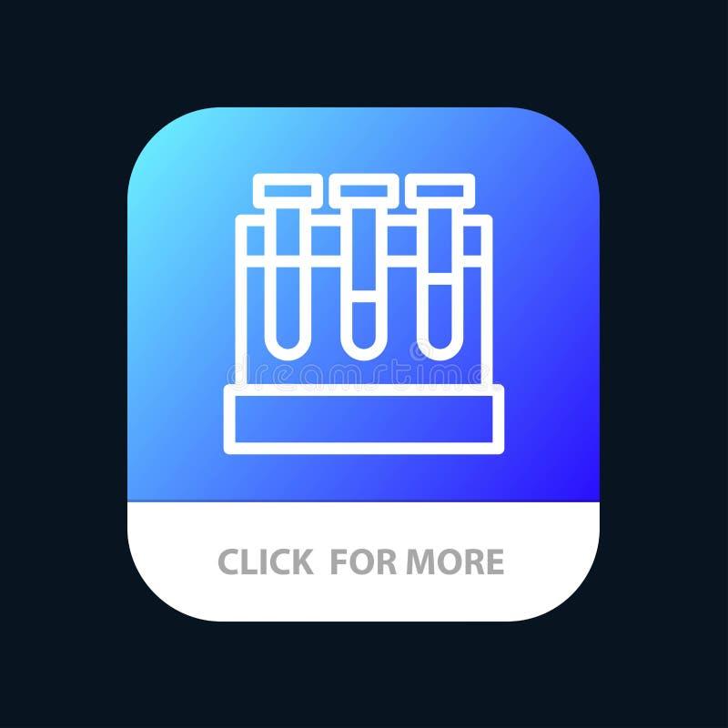 Лаборатория, ушаты, тест, кнопка приложения образования мобильная Андроид и линия версия IOS бесплатная иллюстрация