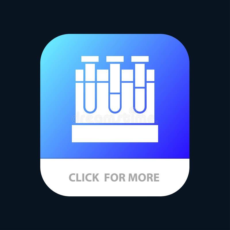 Лаборатория, ушаты, тест, кнопка приложения образования мобильная Андроид и глиф IOS версия иллюстрация вектора