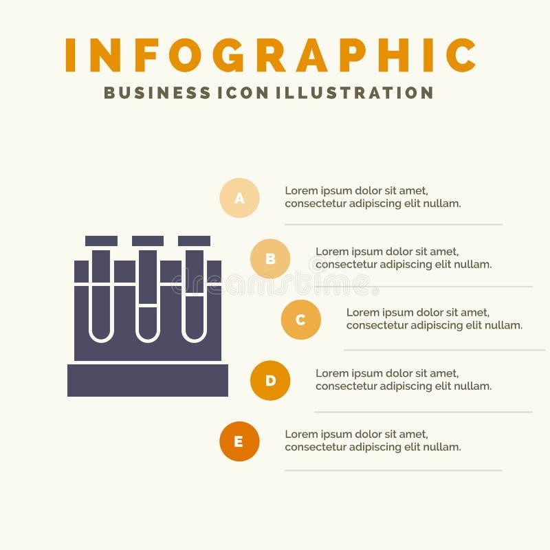 Лаборатория, ушаты, тест, предпосылка представления шагов Infographics 5 значка образования твердая бесплатная иллюстрация
