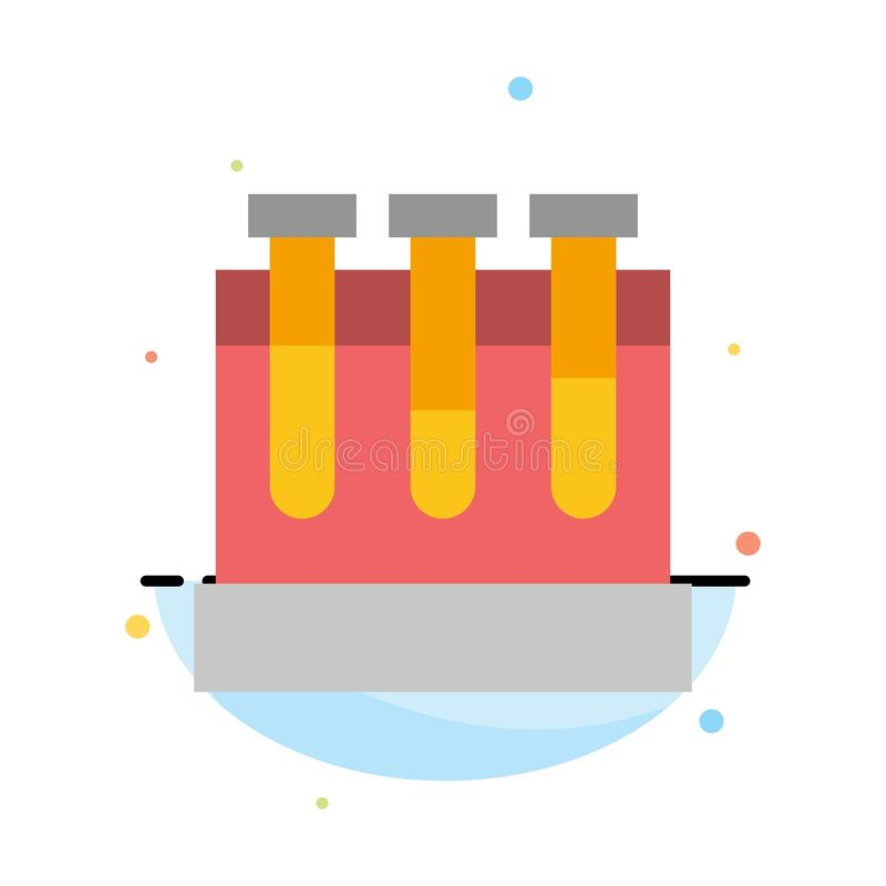 Лаборатория, ушаты, тест, шаблон значка цвета конспекта образования плоский иллюстрация штока