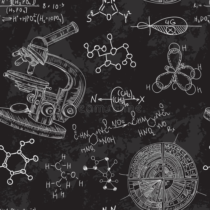 Лаборатория химии винтажной безшовной картины старая с микроскопом и формулами бесплатная иллюстрация