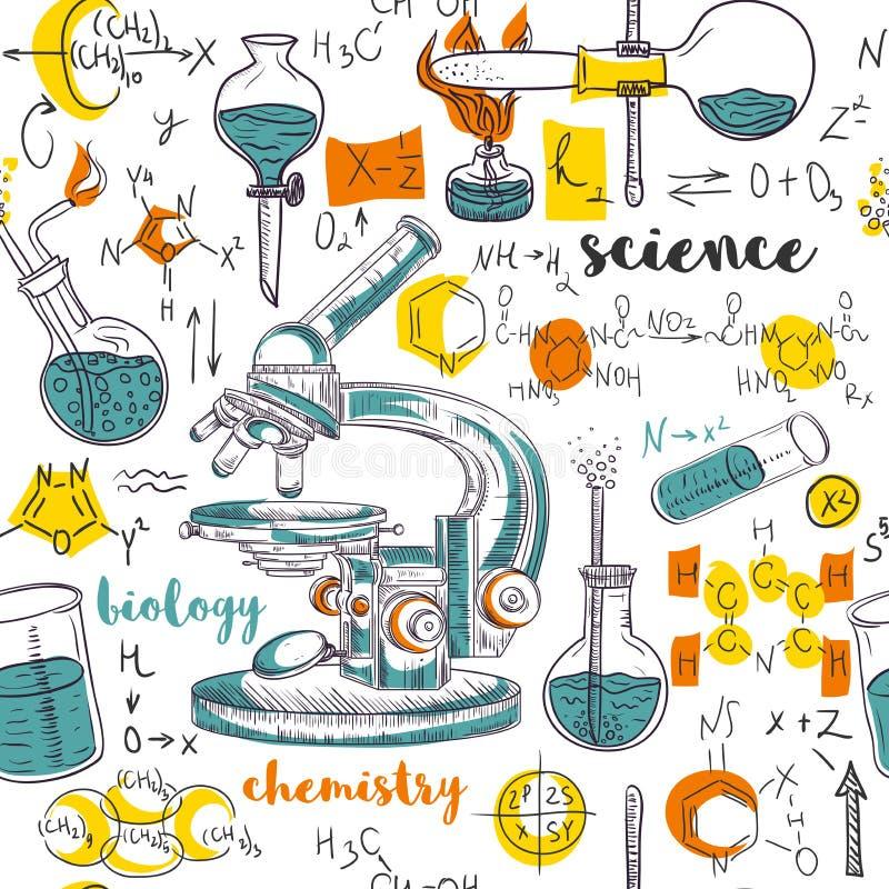 Лаборатория химии винтажной безшовной картины старая с микроскопом, трубками и формулами иллюстрация штока