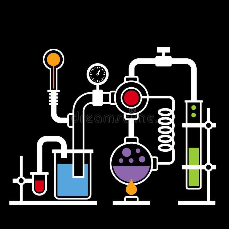 Лаборатория химии Infographic установила 2 иллюстрация вектора