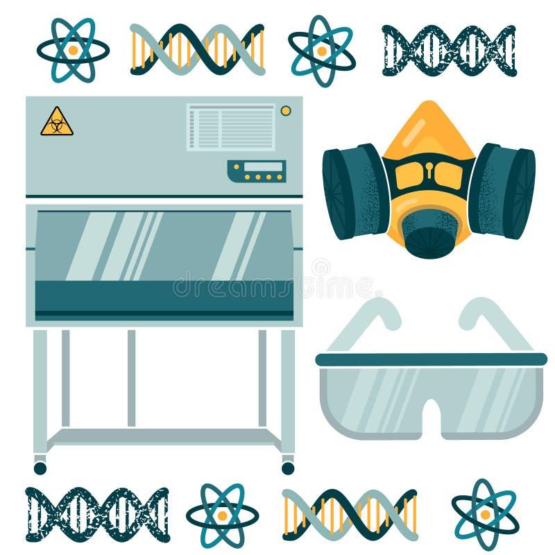 Лабораторное оборудование для работы с токсическое substancest иллюстрация штока