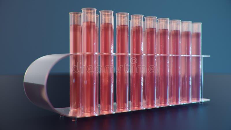Лабораторные исследования науки Развитие медицинской технологии Прорыв в биотехнологии Красная жидкость внутри иллюстрация штока