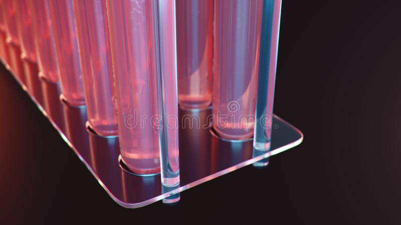 Лабораторные исследования науки Развитие медицинской технологии Прорыв в биотехнологии Красная жидкость внутри иллюстрация вектора