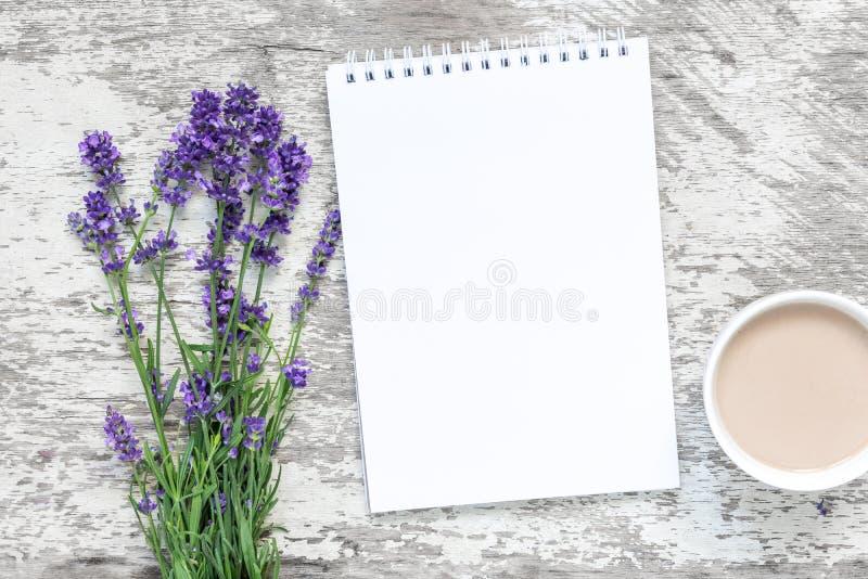 Лаванда цветет букет с пустыми белыми тетрадью и чашкой cuppuccino над белым деревянным столом Взгляд сверху Насмешка вверх стоковые фото