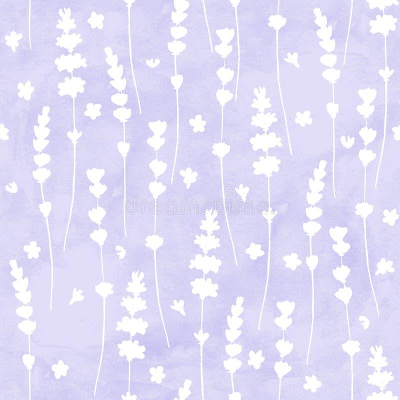 Лаванда цветет картина белых силуэтов безшовная на пурпурной предпосылке акварели стоковая фотография rf