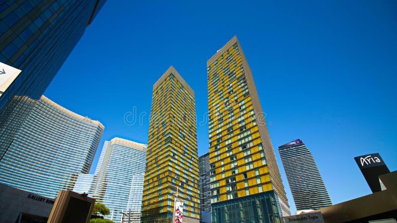 Лавируйте башни на CityCenter в Лас-Вегас стоковые изображения rf