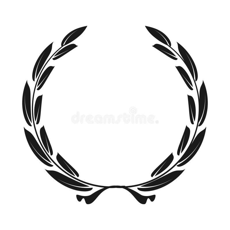 Лавровый венок значка - чернота иллюстрации вектора иллюстрация вектора