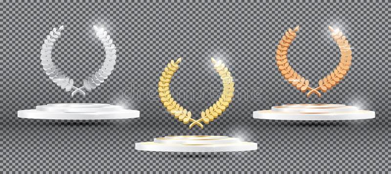 Лавровый венок золота серебряный бронзовый на платформе на прозрачной задней части иллюстрация вектора