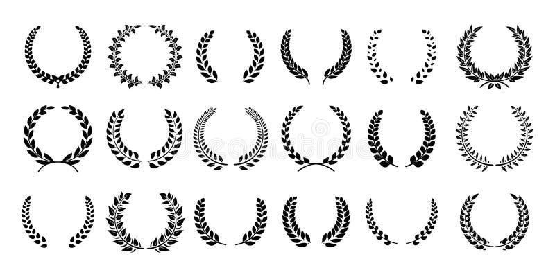 Лавровый венок силуэта Греческая оливковая ветка, эмблемы награды чемпиона, выходит круглые символы призов Лавры черноты вектора иллюстрация штока