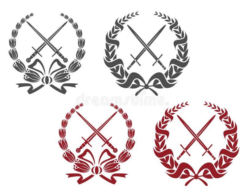Лавр wreathes с оружием иллюстрация штока