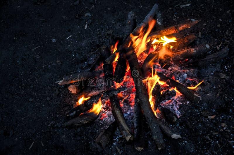 Лагерный костер вечером, который нужно держать теплый стоковое фото rf