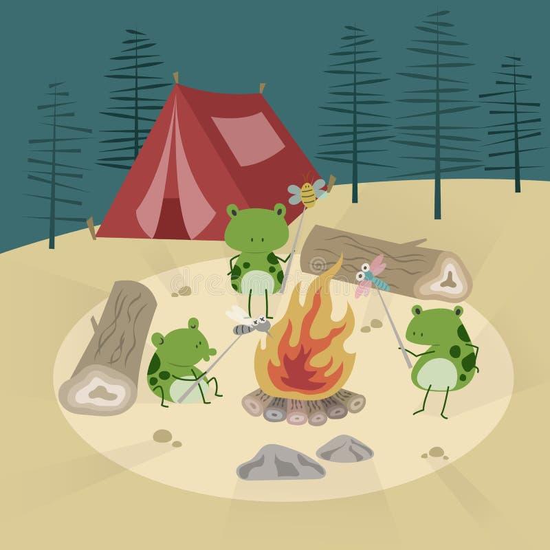 Лагерный костер и лягушки иллюстрация вектора