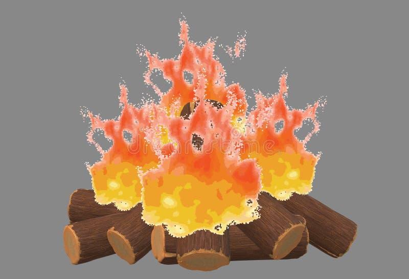 Лагерный костер кучи журналов горящего огня деревянный иллюстрация штока