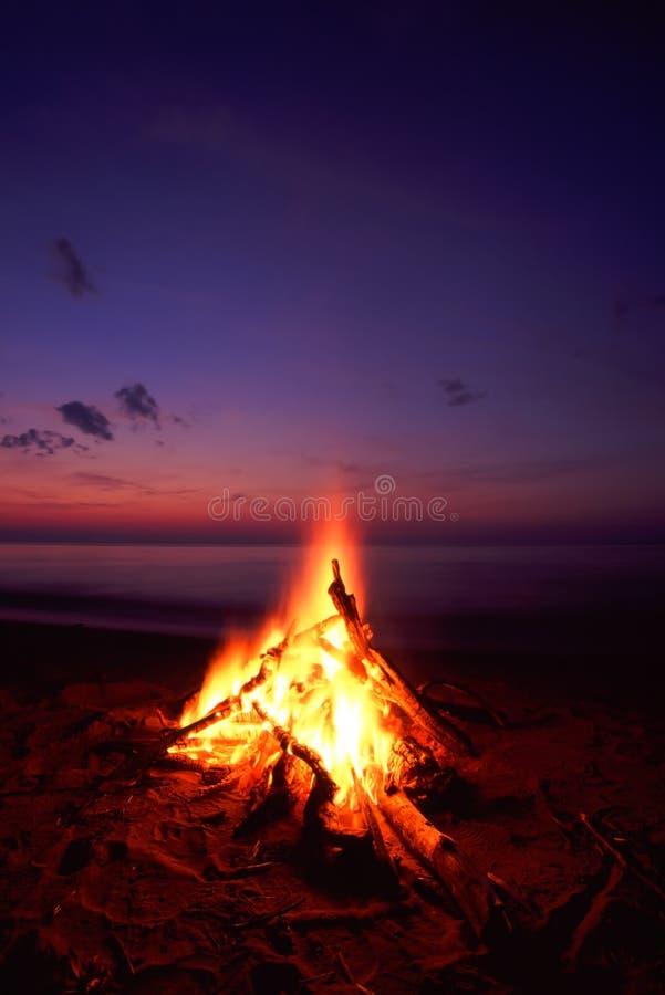 лагерный костер пляжа стоковое фото rf