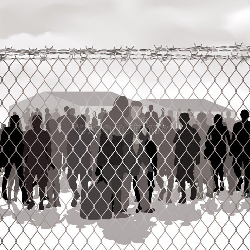 Лагерь беженцев иллюстрация штока