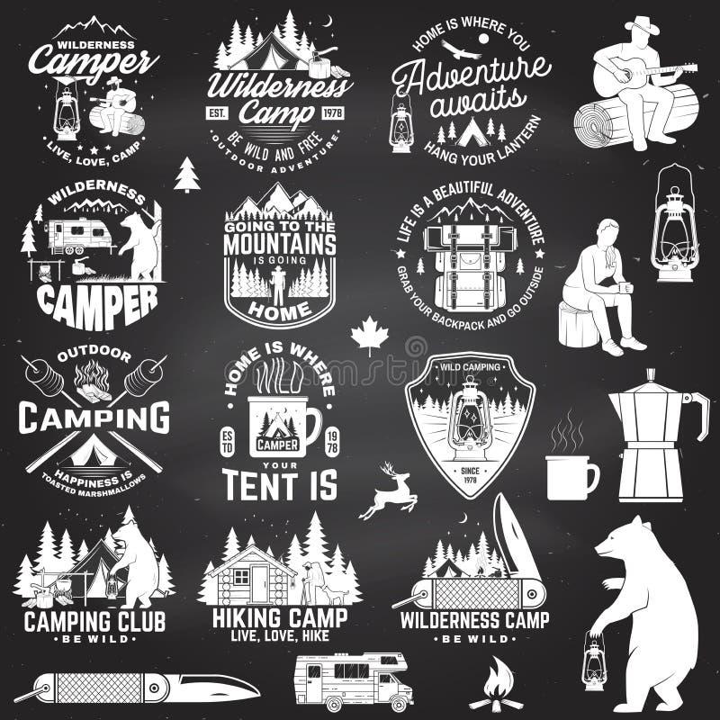Лагерь глуши Одичалый и свободный вектор Концепция для значка, рубашки или логотипа, печати, печати, заплаты Винтажное оформление иллюстрация штока