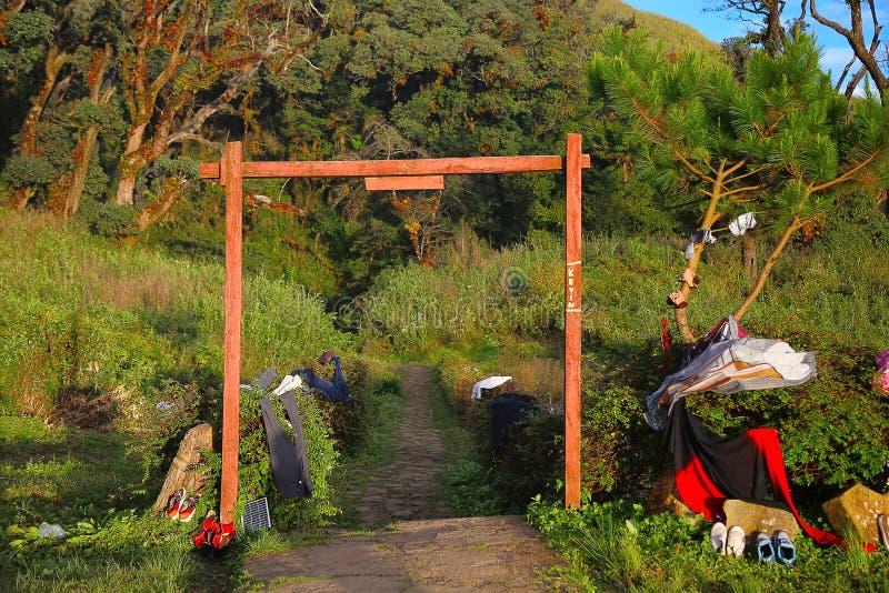 Лагерь остатков Долина Dzukou Граница положений Nagaland и Manipur, Индии стоковые фотографии rf