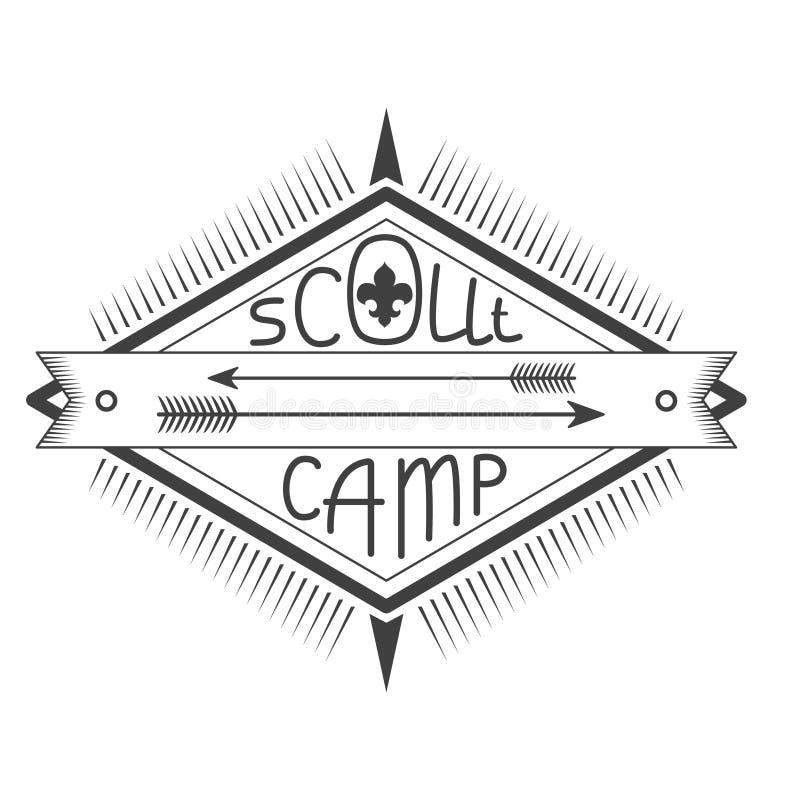 Лагерь разведчика логотипа вектора черно-белый иллюстрация вектора