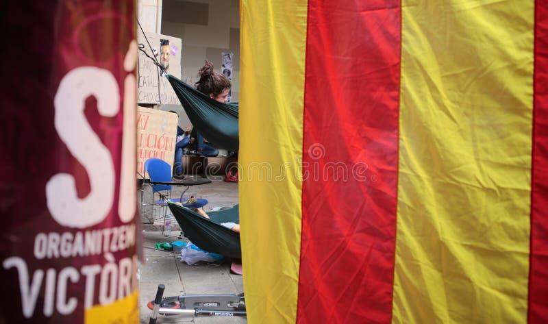 Лагерь студентов Барселоны для независимости стоковое фото