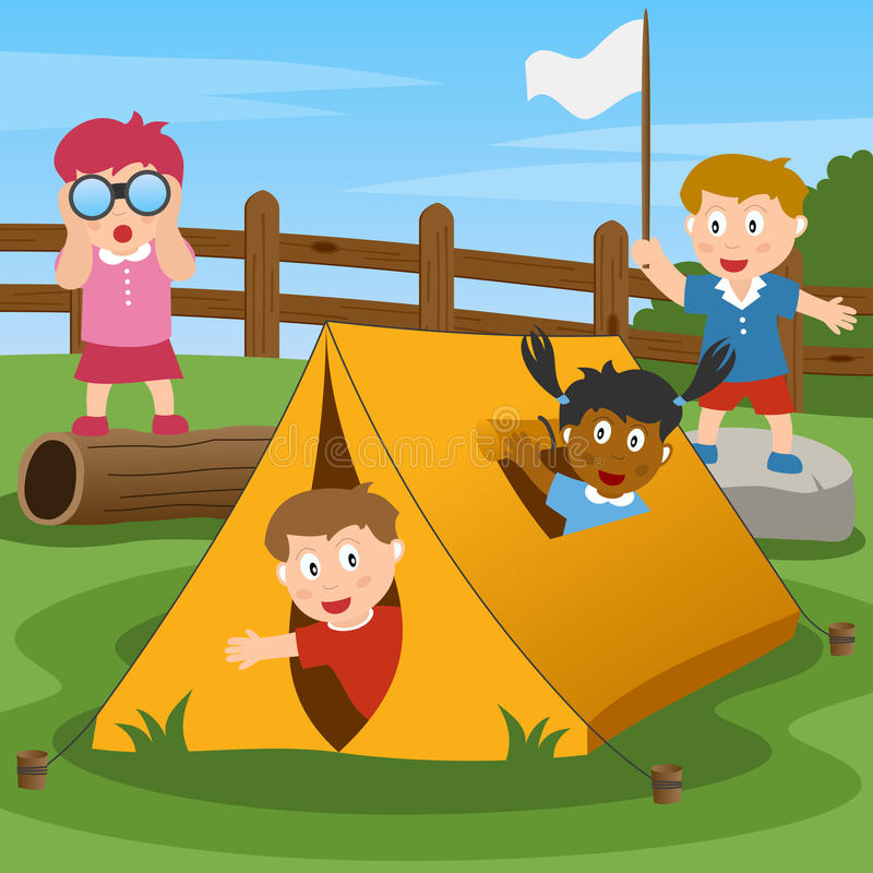 лагерь ягнится лето иллюстрация штока