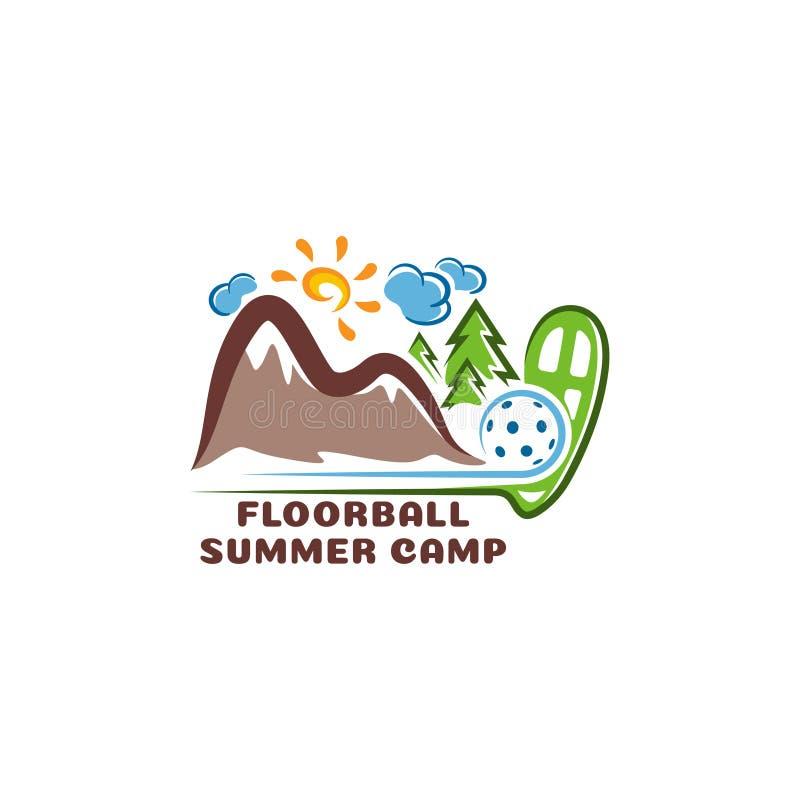 Лагерь floorball логотипа summar Логотип мультфильма потехи иллюстрация вектора