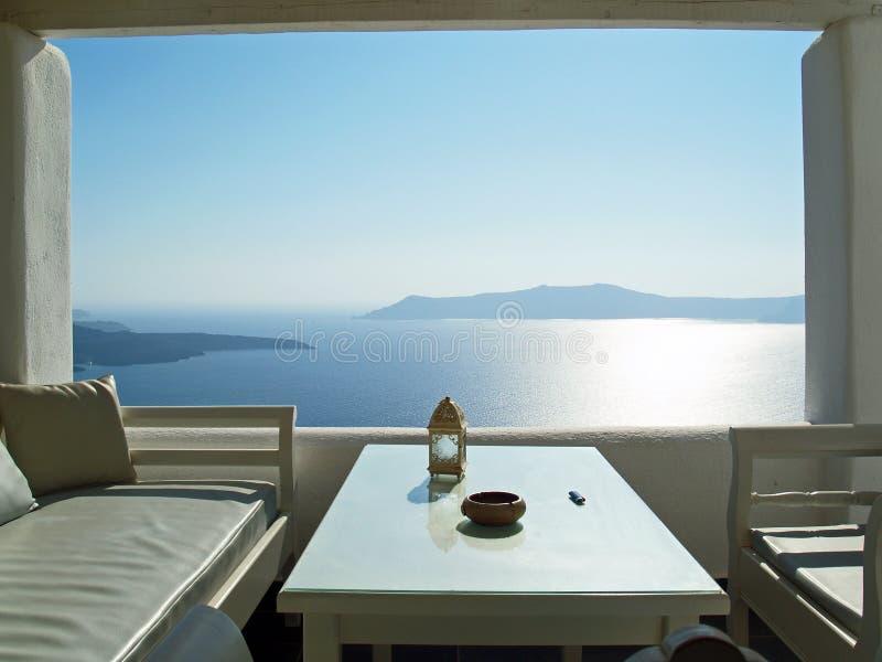 Лагуна острова Santorini стоковые изображения rf
